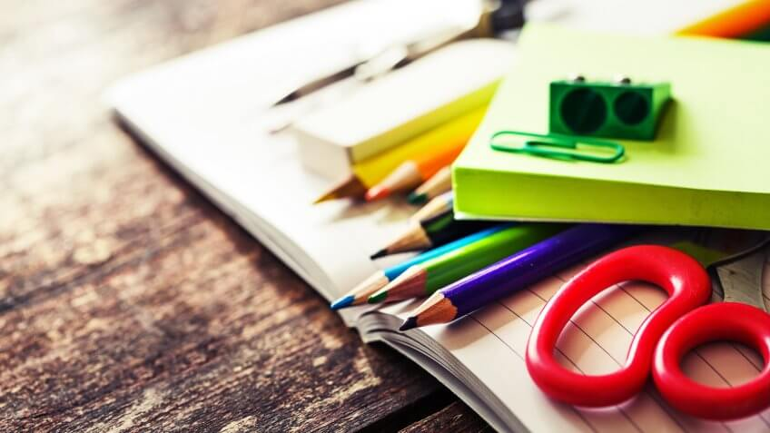 School supplies on wooden background, The Best and Worst Things to Buy in August 2017