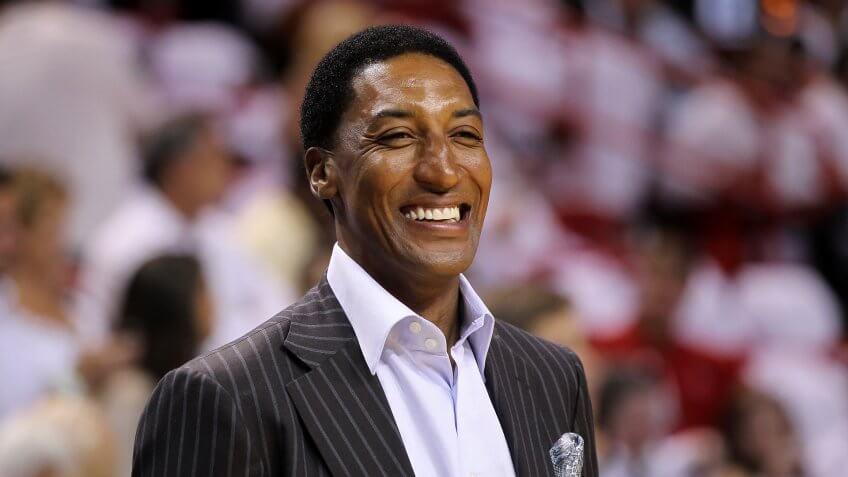MIAMI, FL - MAY 22:  Former Chicago Bull Scottie Pippen looks on as the Chicago Bulls play against the Miami Heat in Game Three of the Eastern Conference Finals during the 2011 NBA Playoffs on May 22, 2011 at American Airlines Arena in Miami, Florida.