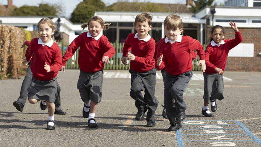 kids with school uniforms