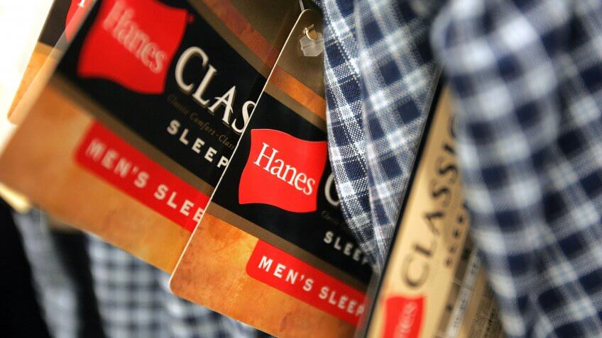 NILES, IL - JULY 12:  Hanes labels hang on Hanes-brand men's sleep pants at a Sears July 12, 2005 in Niles, Illinois.
