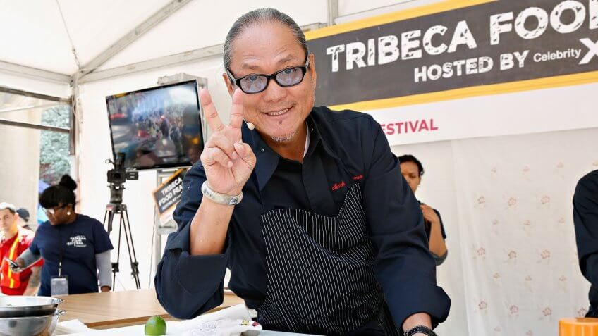 NEW YORK, NY - APRIL 27:  Chef Masaharu Morimoto gives a cooking demonstration during the Family Festival Street Fair/ESPN Sports Day during the 2013 Tribeca Film Festival on April 27, 2013 in New York City.