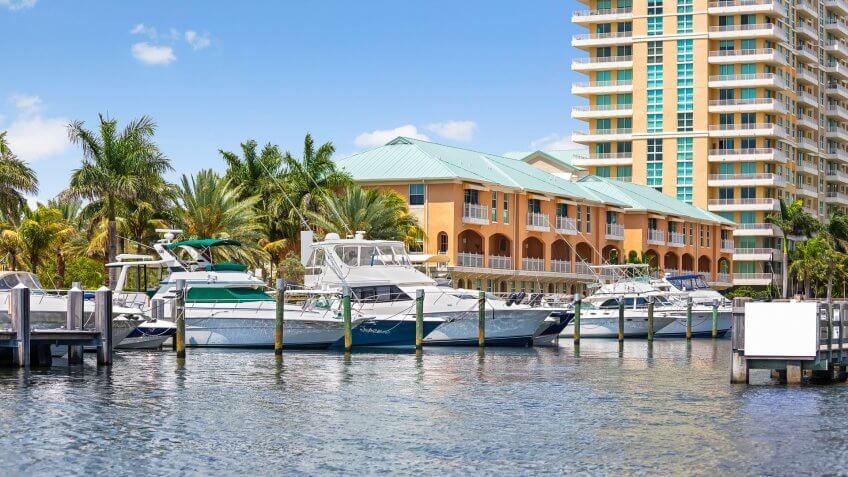 Boats are docked at a local marina in Delray Beach, Florida.