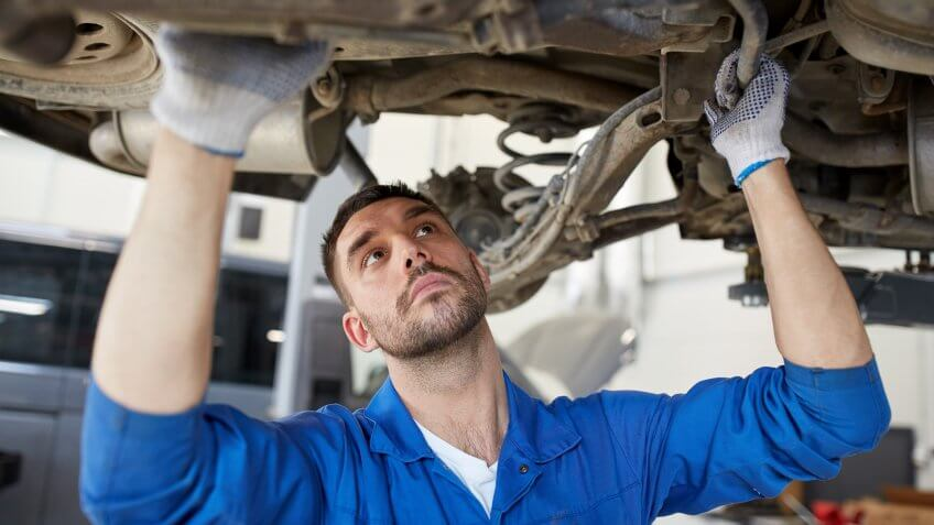 96 Money-Making Skills You Can Learn in Less Than a Year, Repair, car service, maintenance and people concept - auto mechanic man or smith work