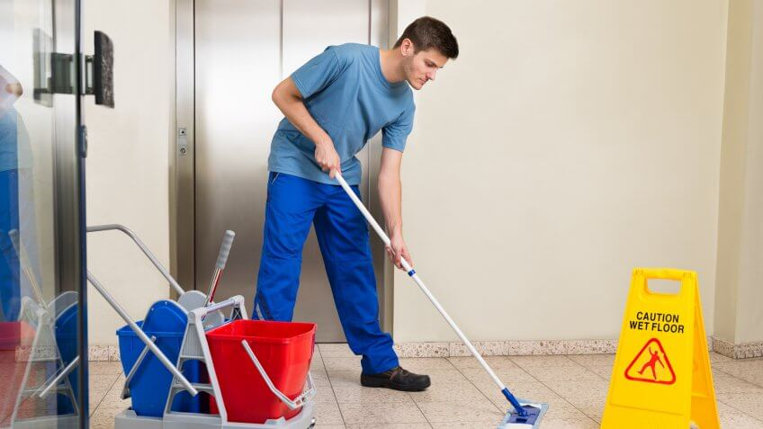11214, Bucket, Caretaker, Cleaning Equipment, Elevator, Flooring, Holding, Horizontal, Manual Worker, Men, Mop, Office, Professional Occupation, Service, Standing, Uniform, Working, Young Adult, cleaner, cleaning, jobs, people