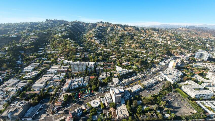 Aerial view of Sunset Boulevard in West Hollywood, California.