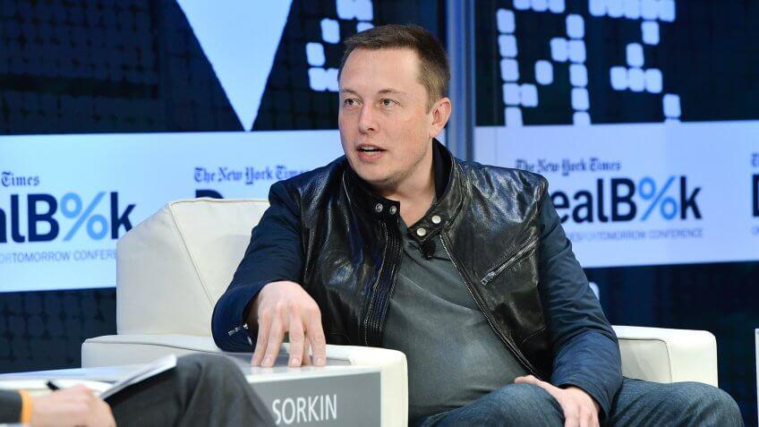 NEW YORK, NY - NOVEMBER 12:  CEO & CTO of SpaceX and CEO & Chief Product Architect of Tesla Motors Elon Musk participates in a discussion at the New York Times 2013 DealBook Conference in New York at the New York Times Building on November 12, 2013 in New York City.