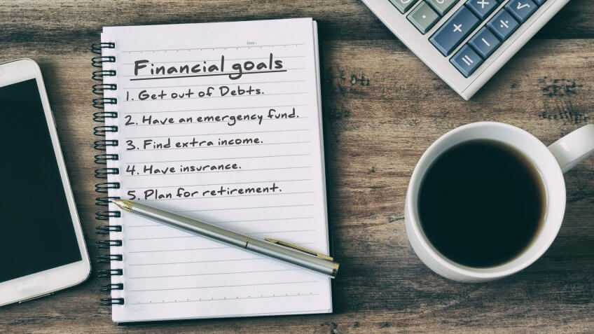 Financial goals on notepad on blank notepad with calculator, Secret Tips to Live a Financially Secure Life, coffee, pen and smart phone on a wooden table, retro style.