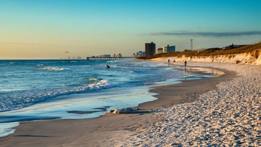 Beach scene in Panama City Beach Florida at sunset.