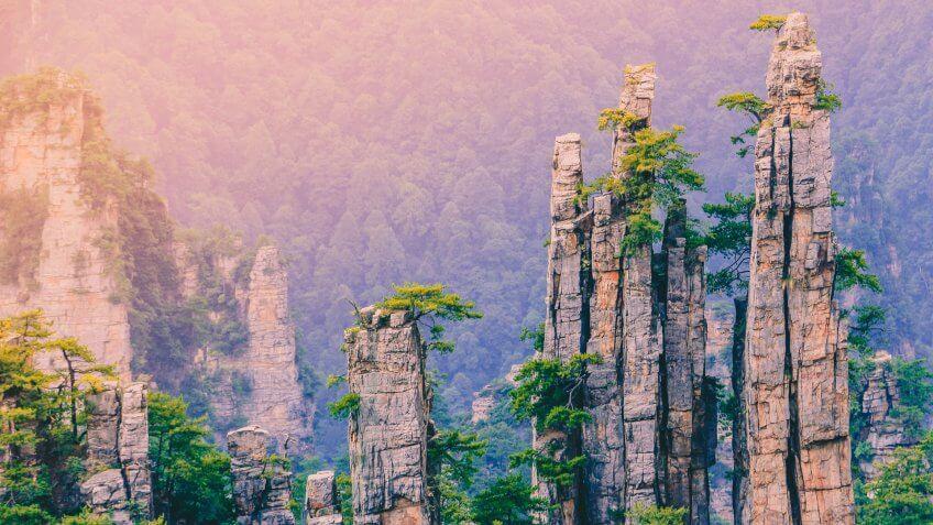 Yunqing rock scenic view at Zhangjiajie national forest park,Wulingyuan,Hunan,China.
