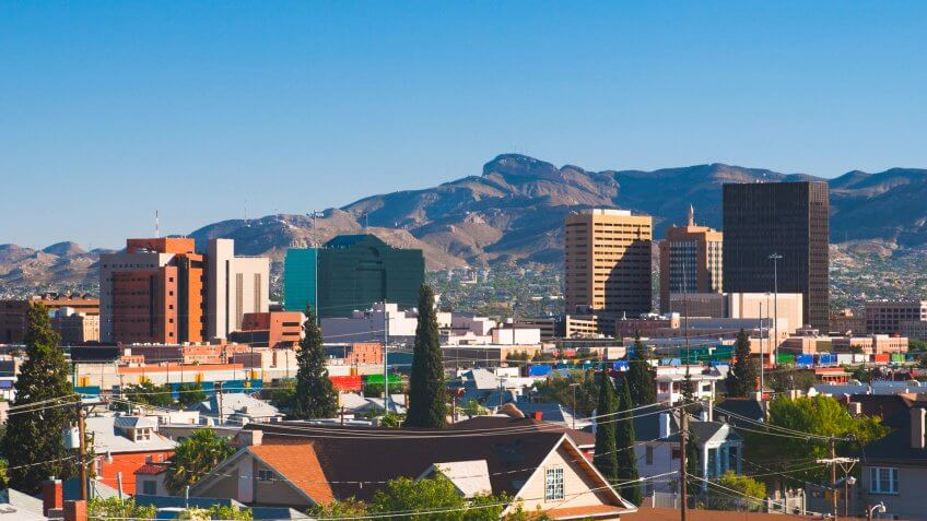 Downtown El Paso skyline with the Juarez mountains in the background.