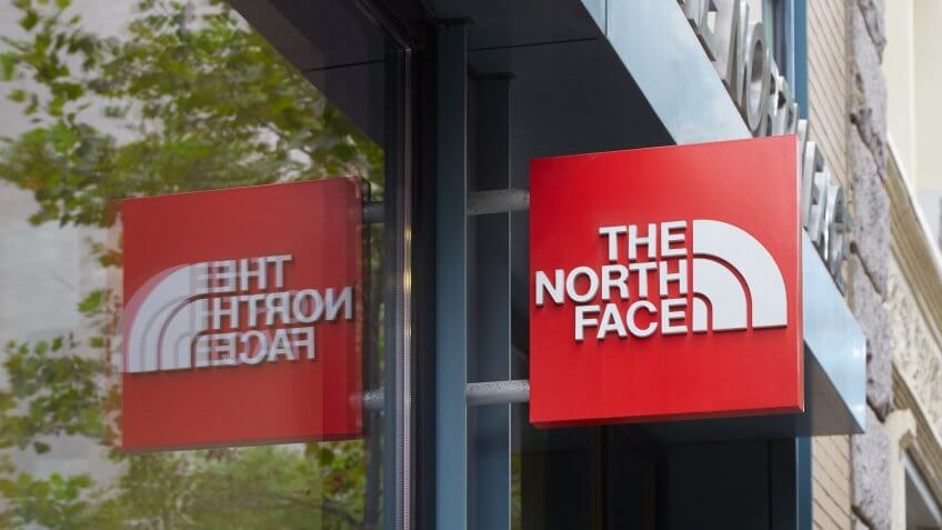 2016 in New York. The North Face Inc. is an outdoor product comp, NEW YORK - SEPTEMBER 7:The North Face red store sign in Wooster