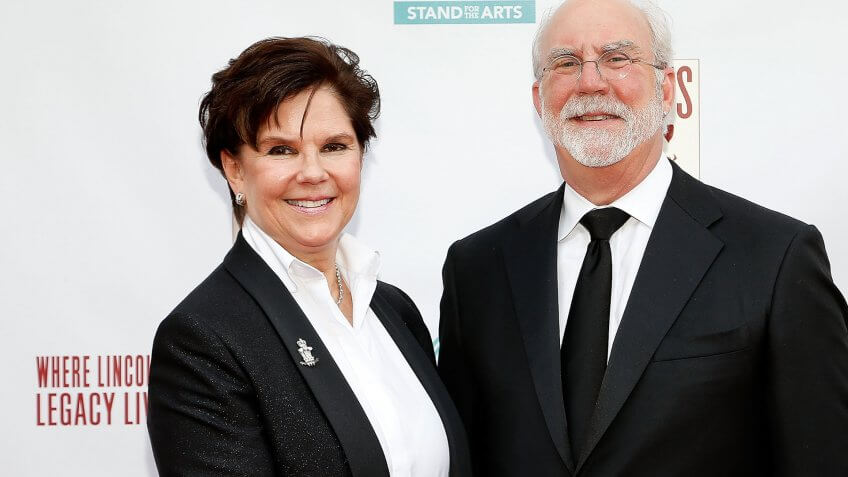 WASHINGTON, DC - JUNE 04:  Chairman and CEO of General Dynamics Phebe Novakovic and her husband David Morrison attend the 2017 Ford's Theatre Gala, sponsored in part by Ovation, at Ford's Theatre on June 4, 2017 in Washington City.
