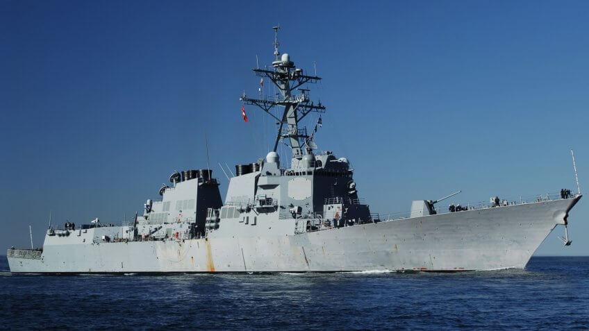 US Navy DDG 51 AEGIS class Destroyer at sea.