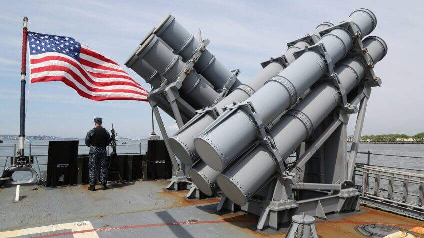 NEW YORK - MAY 28, 2017: Harpoon cruise missile launchers on the deck of US Navy Ticonderoga-class cruiser USS San Jacinto during Fleet Week 2017 in New York.