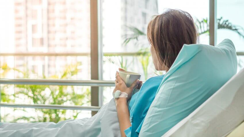 Secret Tips to Live a Financially Secure Life, illness asia patient women and hospital concept - illness asian