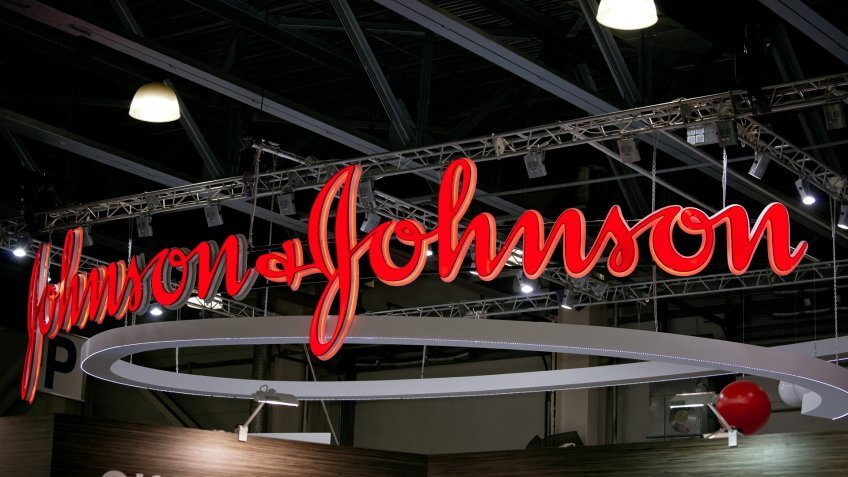 2017: Johnson & Johnson logo company sign. Johnson & Johnson is , Moscow, Russia - April, pharmaceutical and consumer packaged goods manufacturer