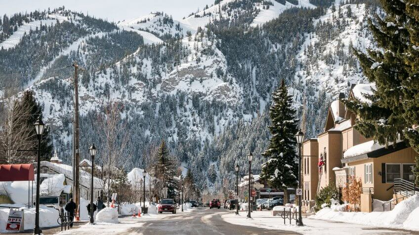 Views Of The Town Of Ketchum And Sun Valley Resort In Idaho.