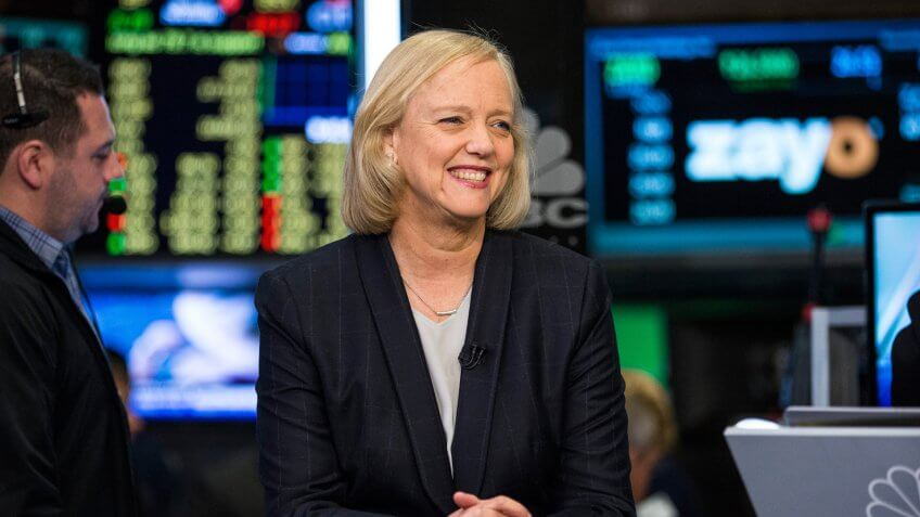 NEW YORK, NY - NOVEMBER 02:  Meg Whitman, CEO of Hewlett Packard, gives a television interivew on the floor of the New York Stock Exchange after ringing the opening bell on November 2, 2015 in New York City.