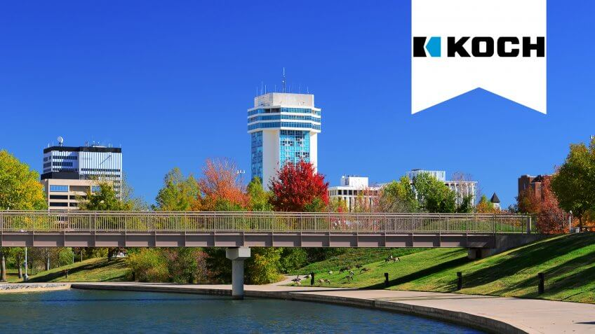 Downtown Wichita skyline with a waterway and park in the foreground.