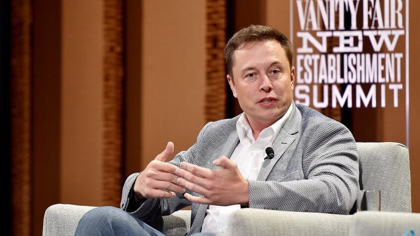 """SAN FRANCISCO, CA - OCTOBER 06:  Tesla Motors CEO and Product Architect Elon Musk speaks onstage during """"What Will They Think of Next? Talking About Innovation"""" at the Vanity Fair New Establishment Summit at Yerba Buena Center for the Arts on October 6, 2015 in San Francisco, California."""