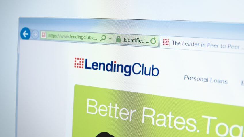 A computer screen shows details of LendingClub main page on its web site. Selective focus.