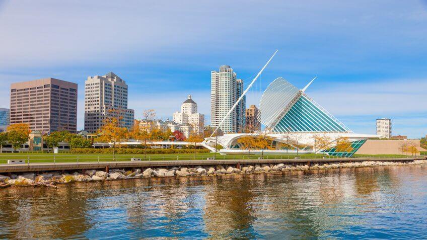 Milwaukee Skyline on the shoreline of Lake Michigan, Wisconsin.