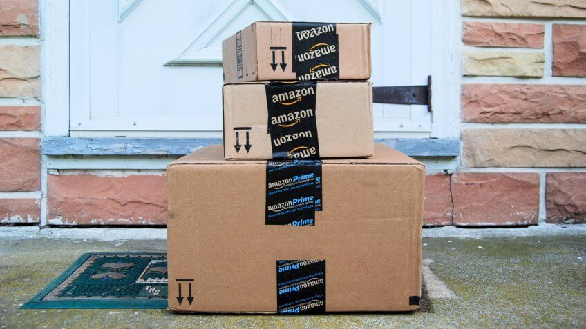 MARYLAND, USA - JUNE 3, 2014: Image of an Amazon packages.