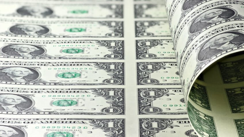 sheets of the US one dollar bill