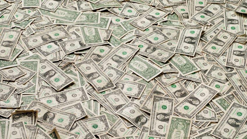 Thousands of US one dollar bills