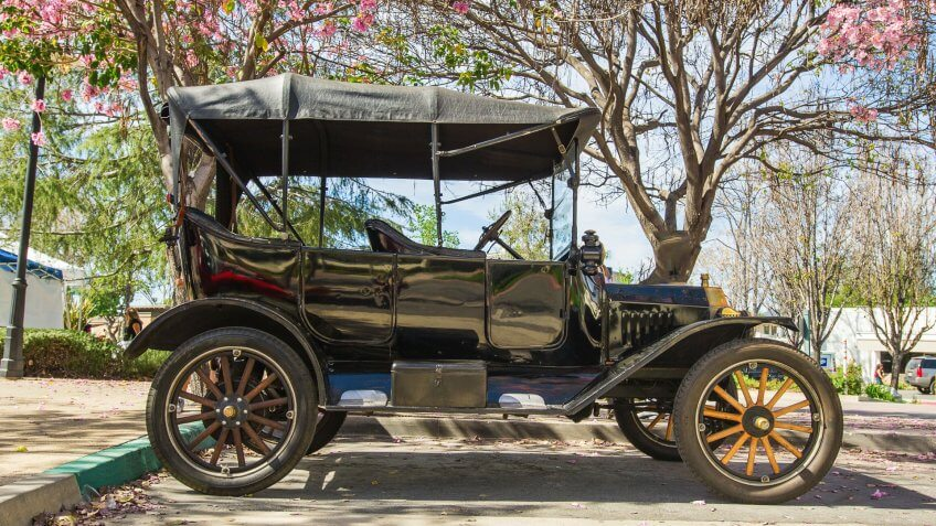 Claremont, CA, USA - March 14, 2015: Vintage 1915 Ford Model T convertible on display at Pi Day Classic Car Show.