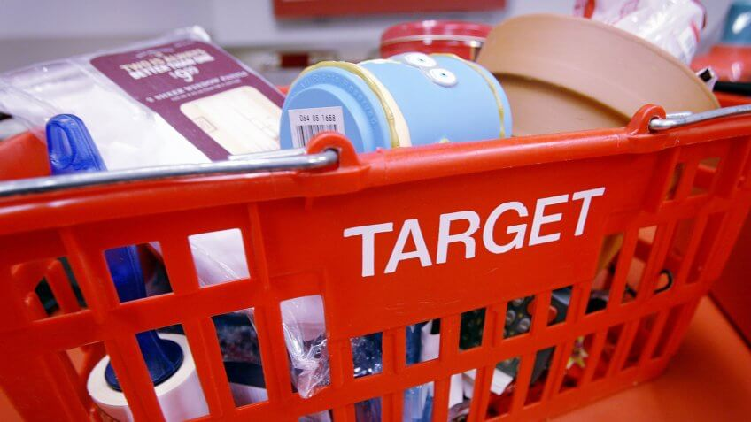 CHICAGO - FEBRUARY 19:  A shopping basket sits on the counter at a Target Store February 19, 2003 in Chicago, Illinois.