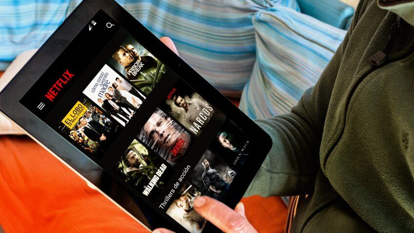 Netflix app on tablet screen. Netflix is an international leading subscription service for watching TV episodes and movies.