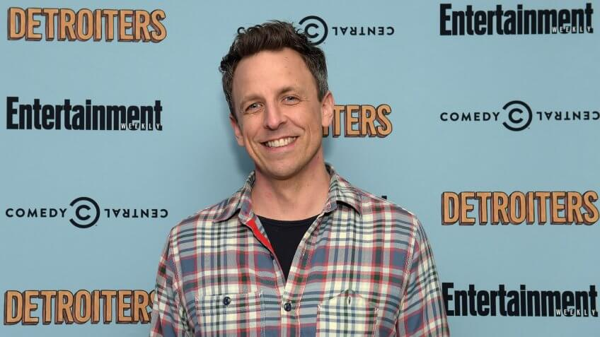 """NEW YORK, NY - FEBRUARY 27:  Comedian Seth Meyers attends an exclusive Screening Of """"Detroiters,"""" starring Sam Richardson and Tim Robinson, hosted by Comedy Central & Entertainment Weekly at Time Inc."""