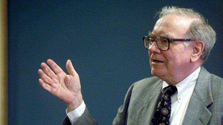 Warren Buffett speaking during a employee meeting at Benjamin Moore Paints in Montvale, N.