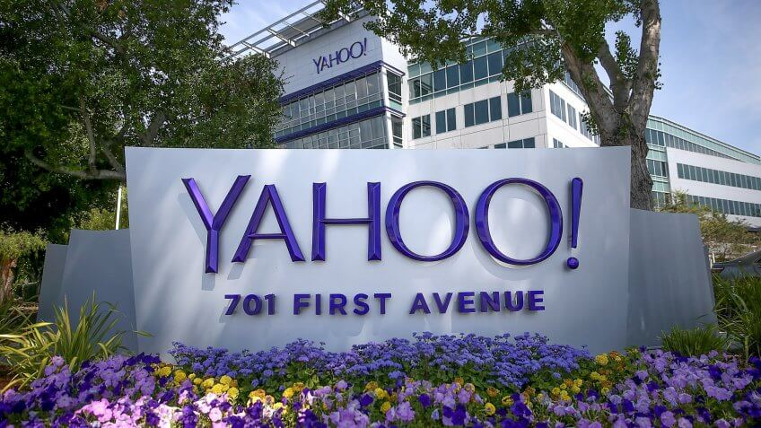 SUNNYVALE, CA - MAY 23:  A sign is posted in front of the Yahoo! headquarters on May 23, 2014 in Sunnyvale, California.