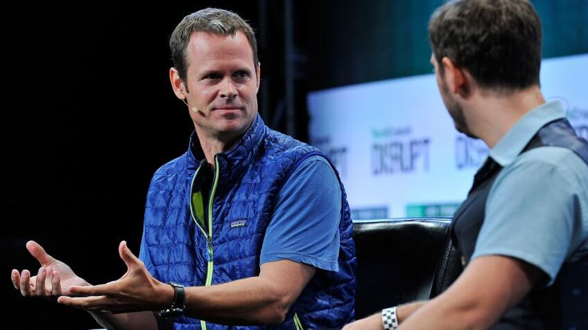 SAN FRANCISCO, CA - SEPTEMBER 22:  (R-L) Moderator Josh Constine and Tim Westergren of Pandora speak onstage during day two of TechCrunch Disrupt SF 2015 at Pier 70 on September 22, 2015 in San Francisco, California.