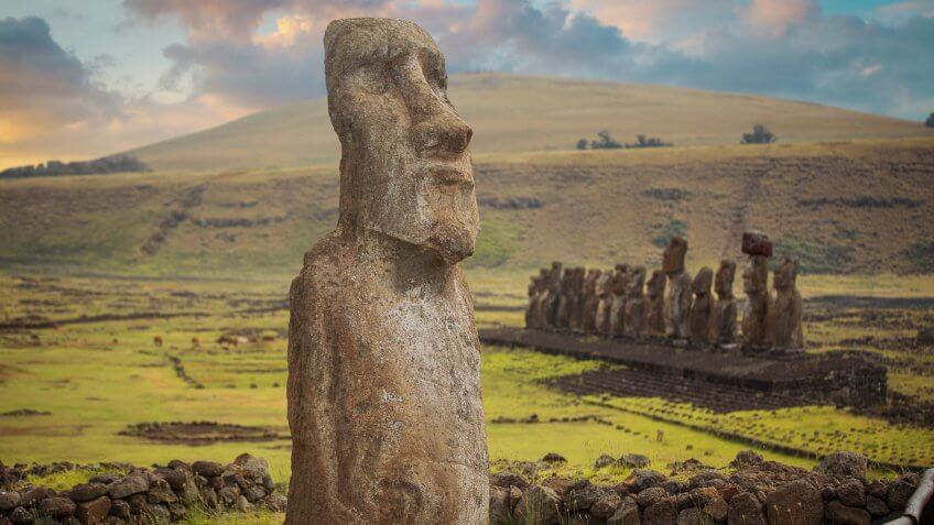 Moais at Ahu Tongariki (Easter island, Chile).