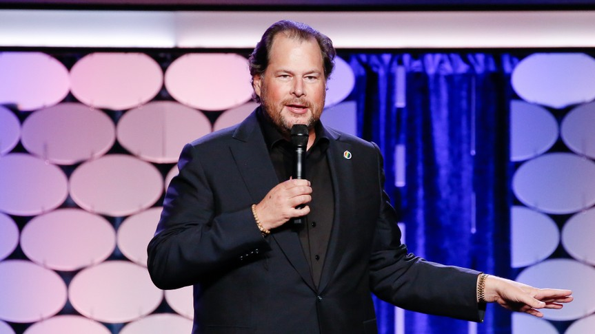 SAN FRANCISCO, CA - SEPTEMBER 08:  Marc Benioff, CEO of Salesforce, speaks at the GLAAD Gala at Metreon on September 8, 2016 in San Francisco, California.