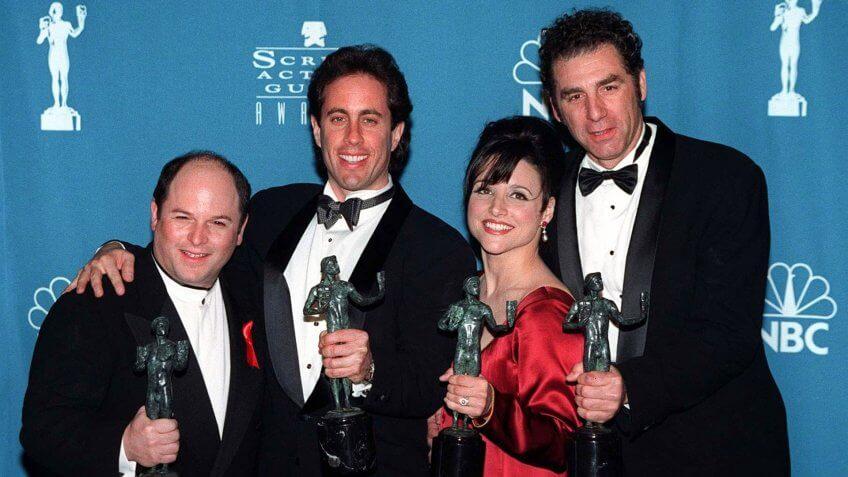 22FEB97: Seinfeld stars JASON ALEXANDER (left), JERRY SEINFELD, JULIA LOUIS DREYFUS & MICHAEL RICHARDS with their Screen Actors