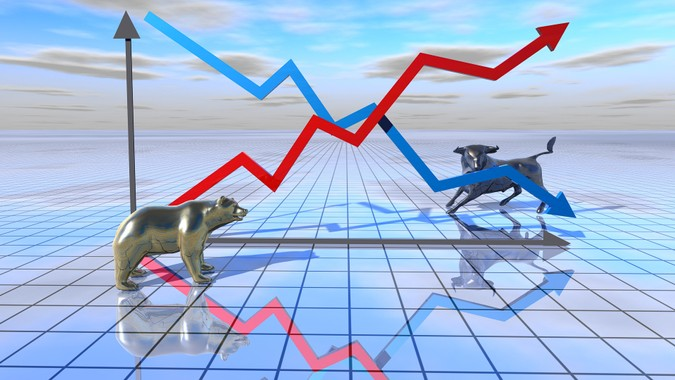 stock market graph abstract illustration with bear and bull abstract stock exchange concept.