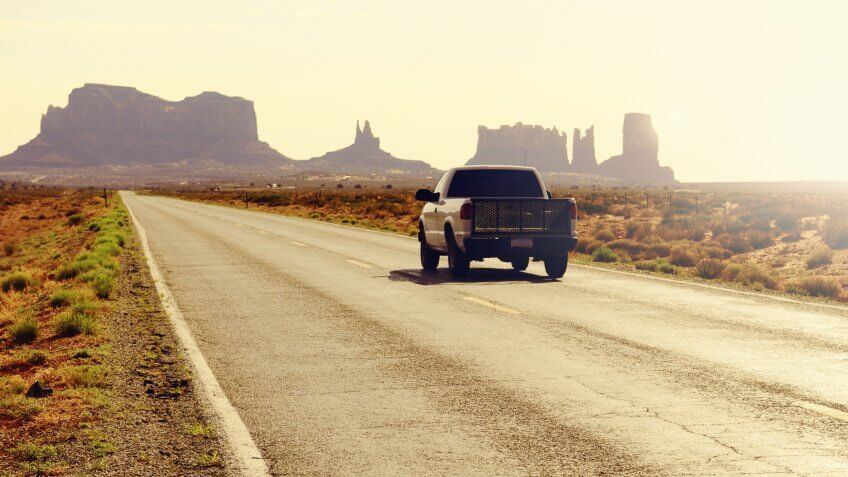 Driving in Monument Valley, Arizona, USA.