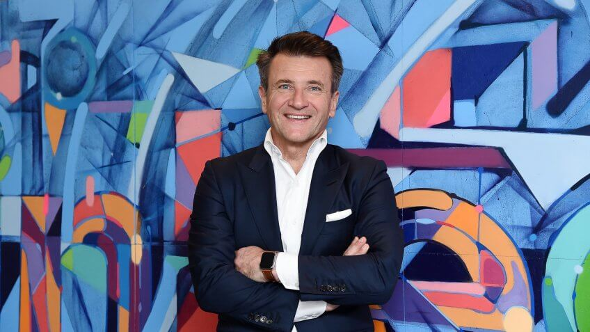 "NEW YORK, NY - APRIL 26:  (EXCLUSIVE COVERAGE) TV personality Robert Herjavec from ""Shark Tank"" visits LinkedIn for an Interview with Daniel Roth at LinkedIn Studios on April 26, 2016 in New York City."