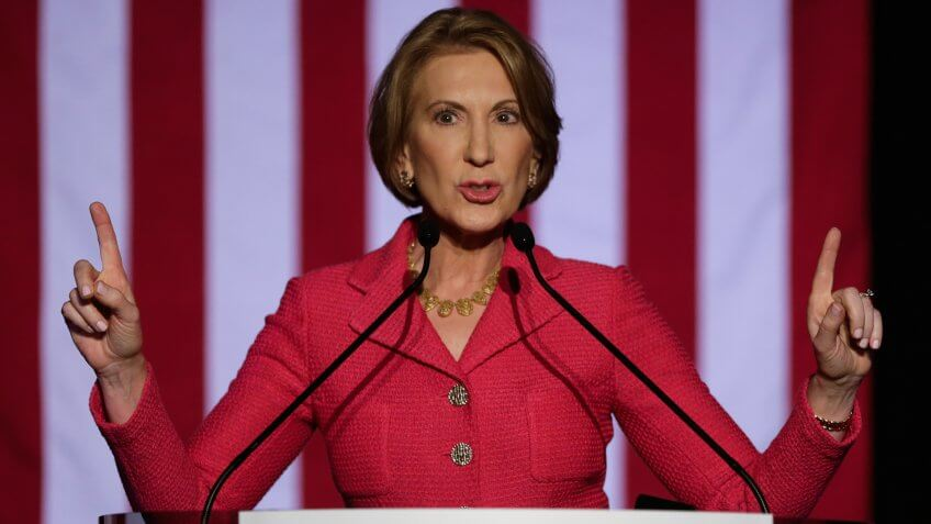 HOUSTON, TX - MARCH 15:  Carly Fiorina speaks at a watch party for Republican presidential candidate Sen.