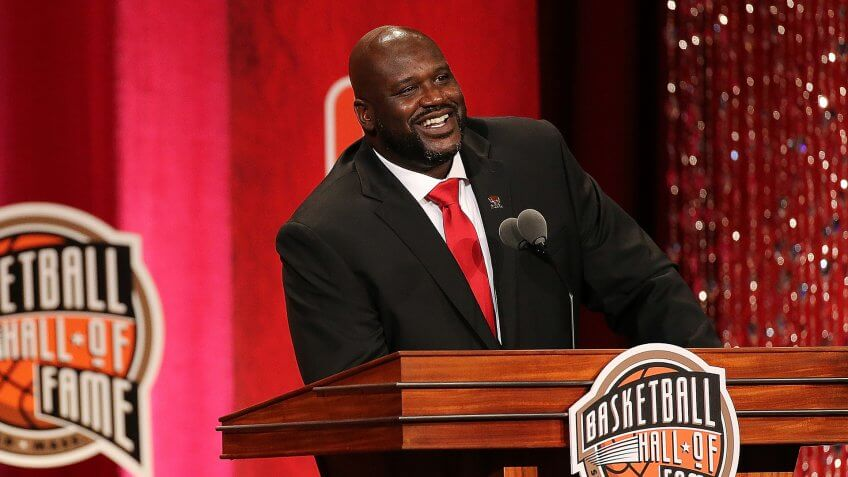 SPRINGFIELD, MA - SEPTEMBER 09:  Shaquille O'Neal reacts during the 2016 Basketball Hall of Fame Enshrinement Ceremony at Symphony Hall on September 9, 2016 in Springfield, Massachusetts.