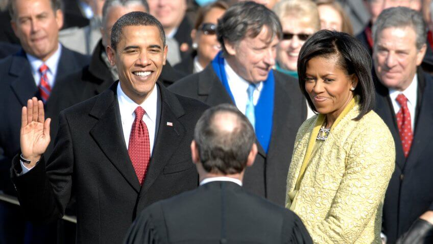 Barack Obama is sworn in as the 44th president of the United States
