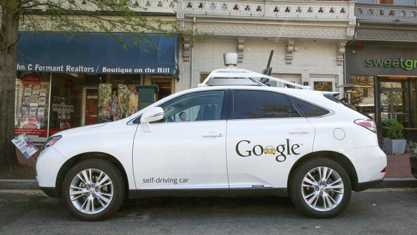 WASHINGTON, DC - APRIL 23: Googles Lexus RX 450H Self Driving Car is seen parked on Pennsylvania Ave.