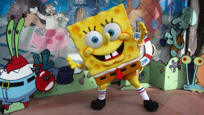 Meeting Spongebob Squarepants at Universal Studios.