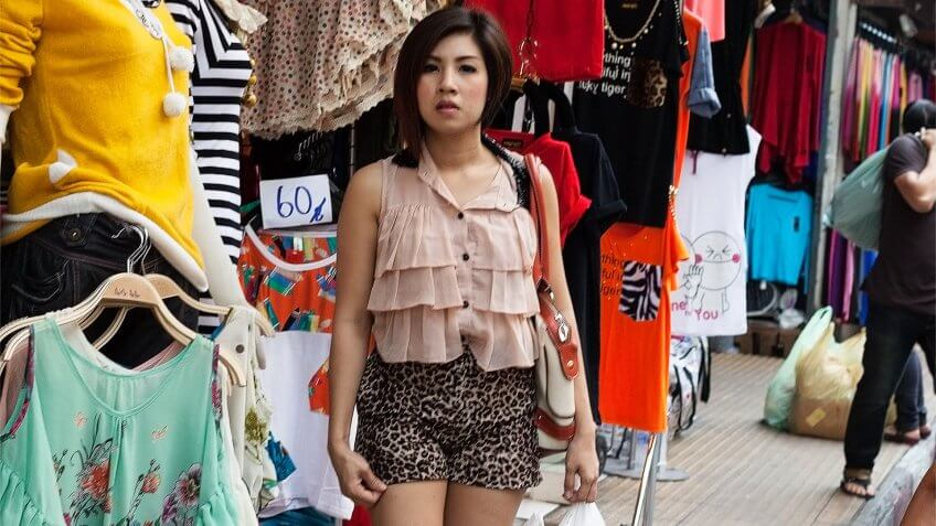 """Bangkok, Thailand- February 11, 2013: Bangkok market street."