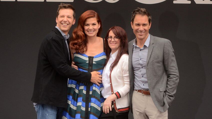 """LOS ANGELES - AUG 2: Sean Hayes, Debra Messing, Megan Mullally, Eric McCormack at the """"Will & Grace"""" Start of Production Kick Off Event at the Universal Studios on August 2, 2017 in Universal City, CA."""
