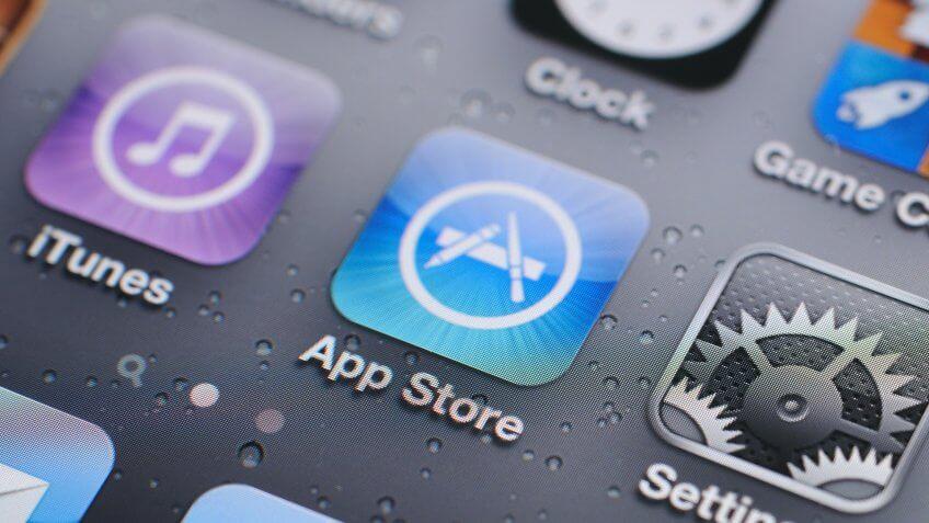 """""""Hong Kong, China - November 11, 2011: iPhone 4s screen closeup with iTunes and App Store."""